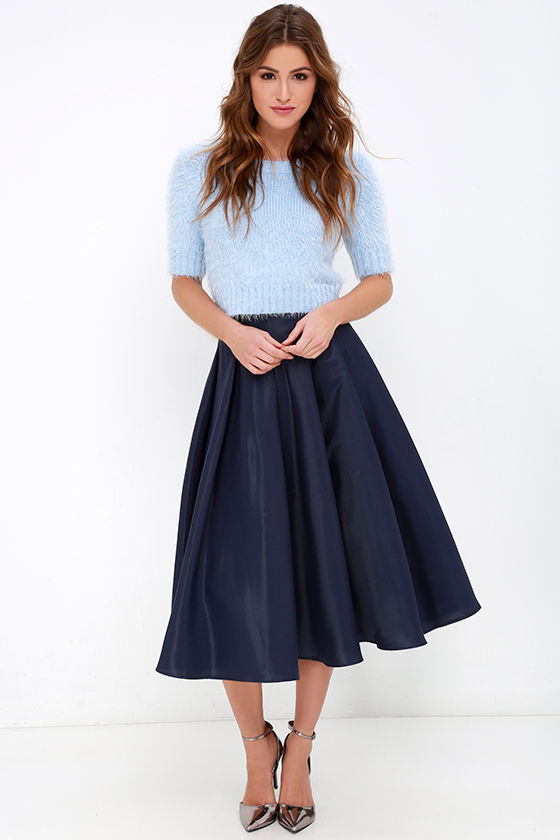 Navy Blue Skirt - Midi Skirt - High-Waisted Skirt - $62.00