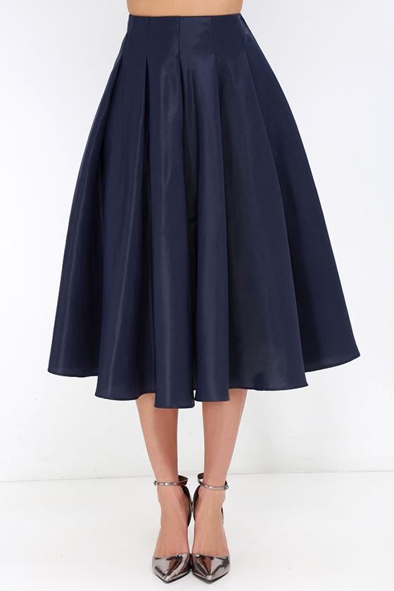 navy blue skirt midi skirt high waisted skirt 62 00
