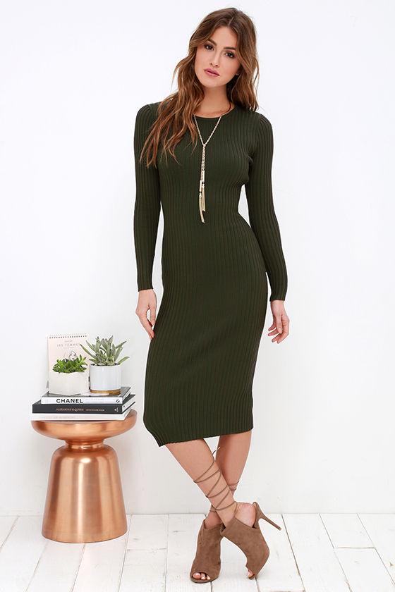 Cozy Olive Green Dress Sweater Dress Midi Dress Bodycon Dress