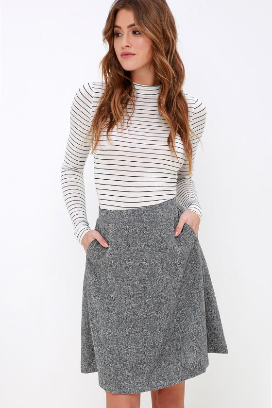 Chic Grey Skirt - High-Waisted Skirt - A-Line Skirt - $52.00