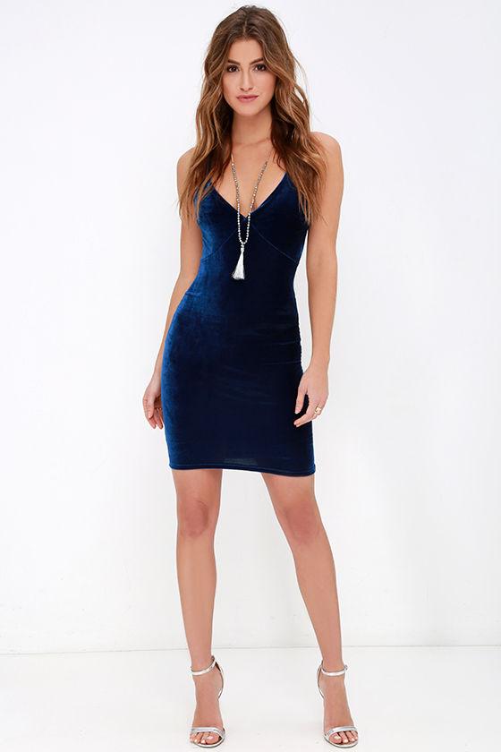 Velvet Dress - Navy Blue Lace Dress - Bodycon Dress - Backless ...