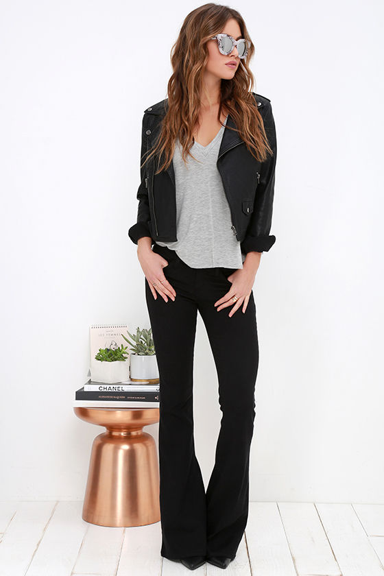Black Jeans - Flare Jeans - Mid-Rise Jeans - $64.00