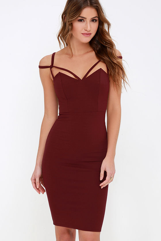 Maroon Dress - Midi Dress - Bodycon Dress - $48.00