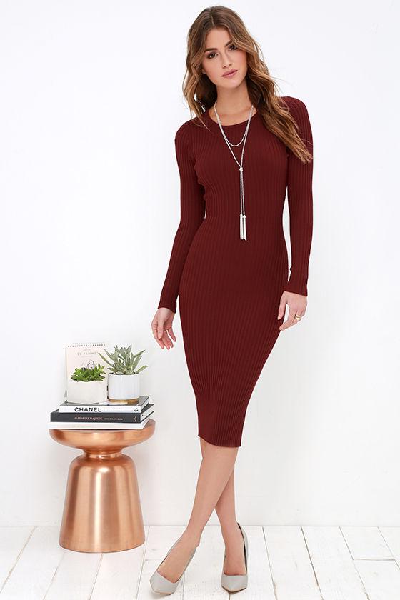 Cozy Burgundy Dress - Sweater Dress - Midi Dress - Bodycon Dress ... aab4dd854