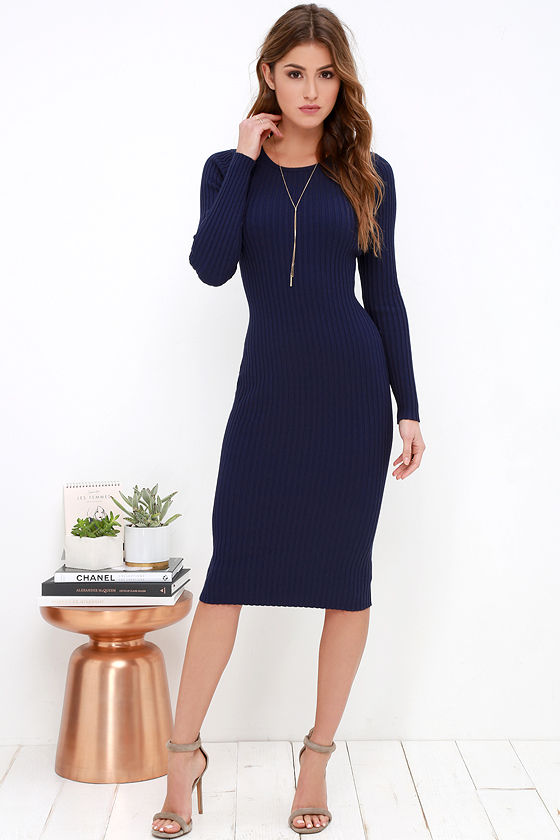 Cozy Navy Blue Dress - Sweater Dress - Midi Dress - Bodycon Dress ...