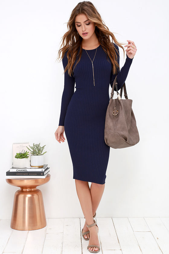 Cozy Navy Blue Dress - Sweater Dress - Midi Dress - Bodycon Dress - $48.00