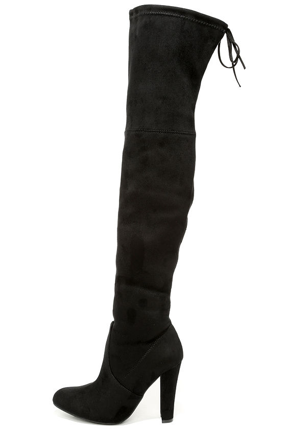Steve Madden Gorgeous Boots - Black Suede Boots - Over the Knee ...