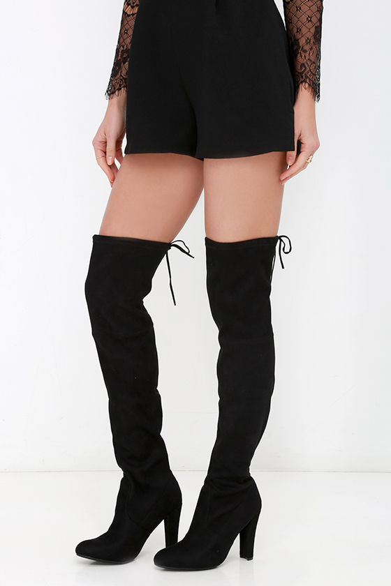 085536ce5a4952 Steve Madden Gorgeous Boots - Black Suede Boots - Over the Knee ...