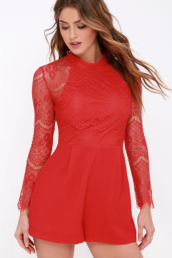 718ff9a6e4d8 Red Romper - Long Sleeve Romper - Lace Romper - $59.00