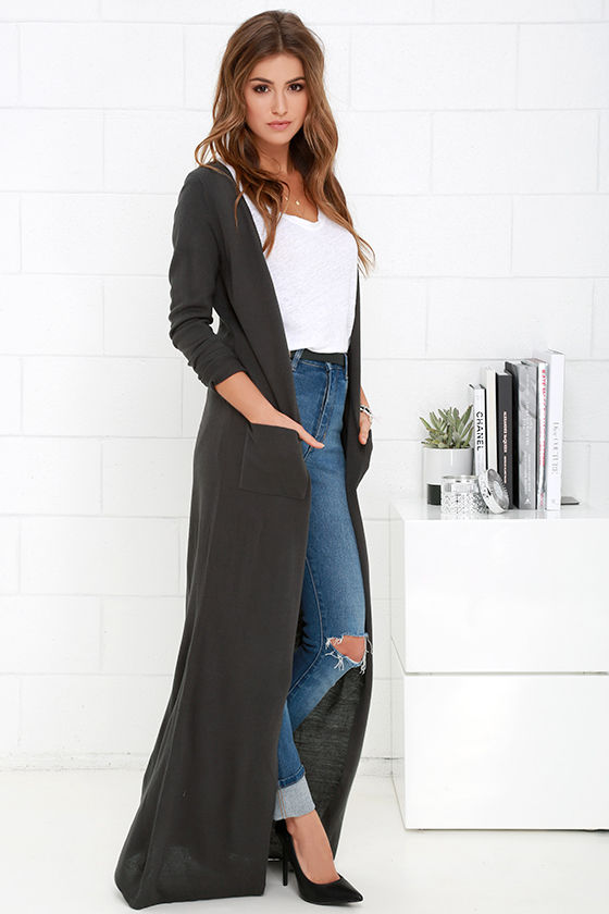 Chic Dark Grey Cardigan - Long Cardigan - Duster Sweater - $61.00