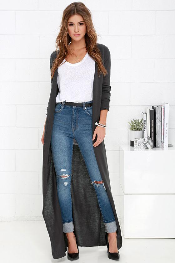6c89fd68a23 Chic Dark Grey Cardigan - Long Cardigan - Duster Sweater -  61.00