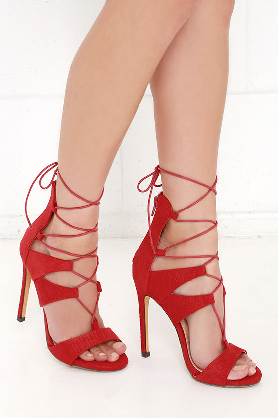 Sexy Red Heels - Lace-Up Heels - Caged Heels - $39.00