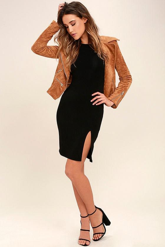 How I Wonder Black Long Sleeve Midi Dress 2