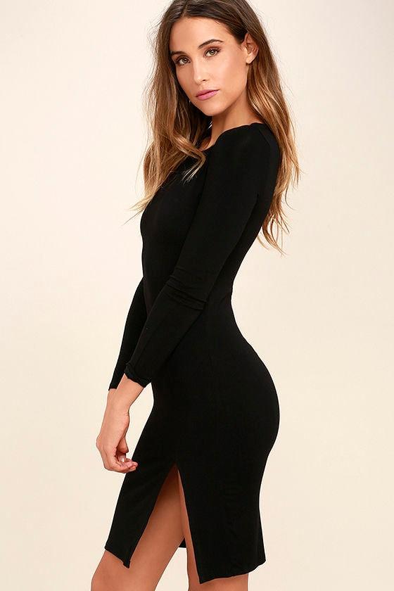 How I Wonder Black Long Sleeve Midi Dress 3