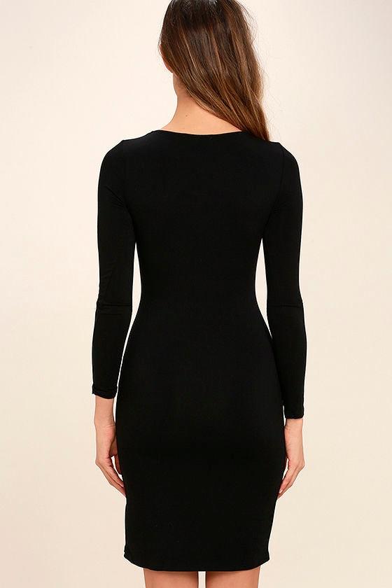 How I Wonder Black Long Sleeve Midi Dress 4