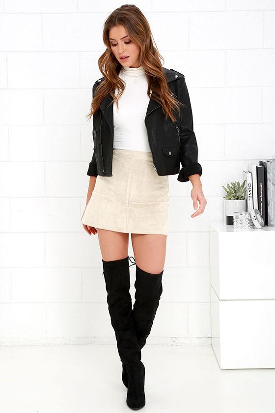 Shenandoah Beige Suede Mini Skirt 2