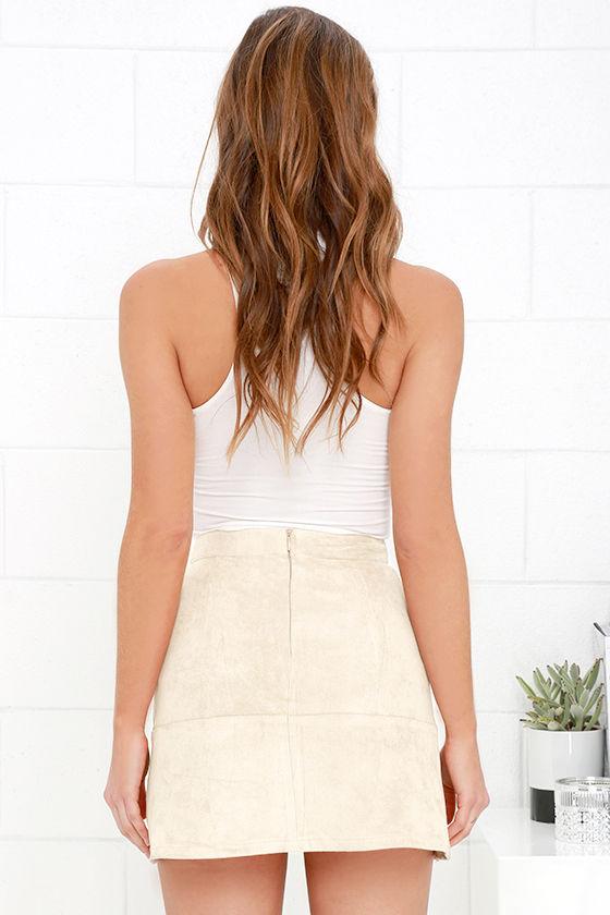Suede Skirt - Beige Skirt - Mini Skirt - High-Waisted Skirt - $38.00