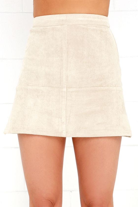 Shenandoah Beige Suede Mini Skirt 4