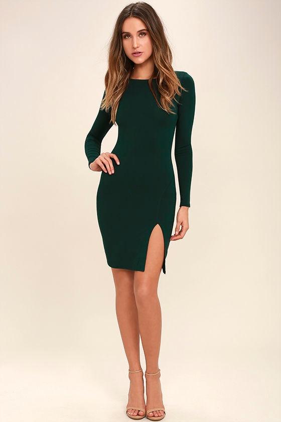 8334b8f7210b Sexy Dark Green Dress - Long Sleeve Dress - Midi Dress -  34.00