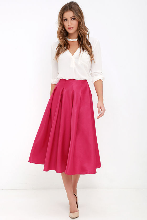 Berry Pink Skirt - Midi Skirt - High-Waisted Skirt - $62.00