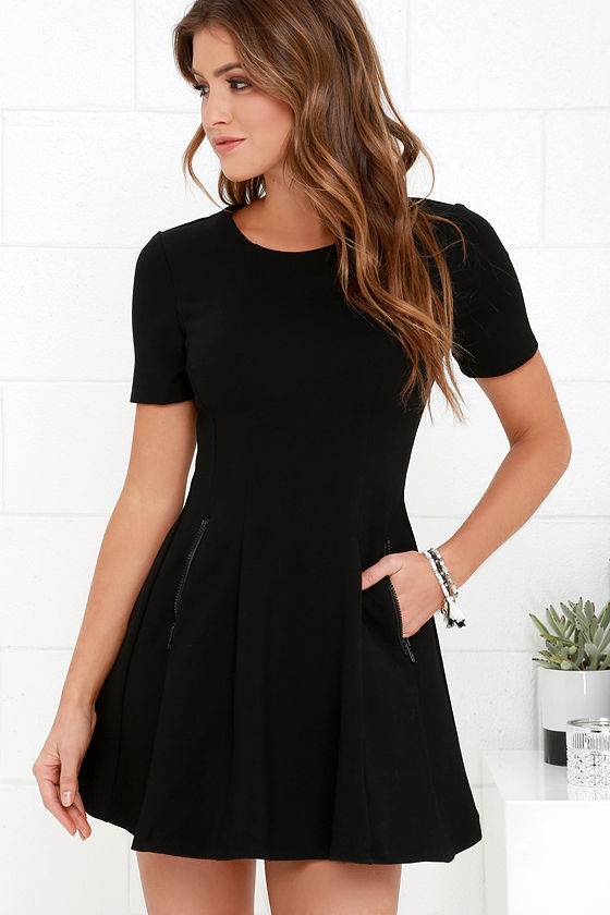 844d8de3e357 Cute Black Dress - LBD - Short Sleeve Dress -  60.00