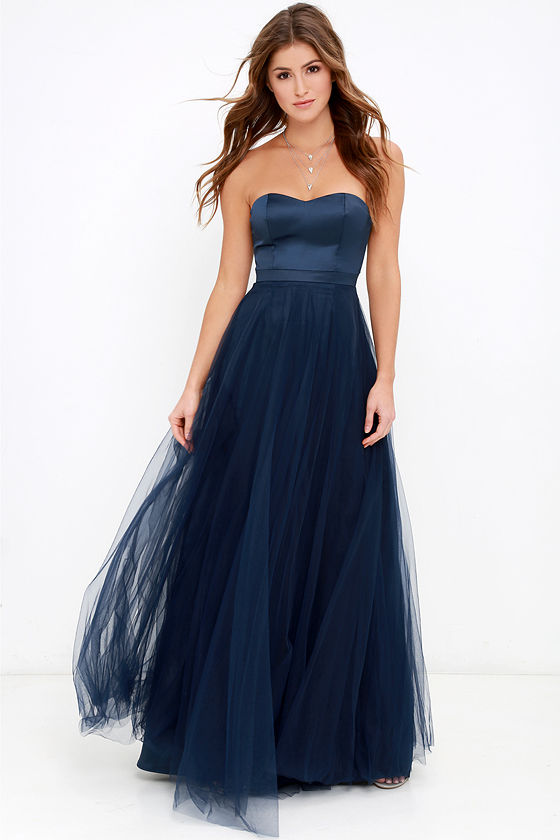Beautiful Navy Blue Dress - Maxi Dress - Strapless Dress - $98.00