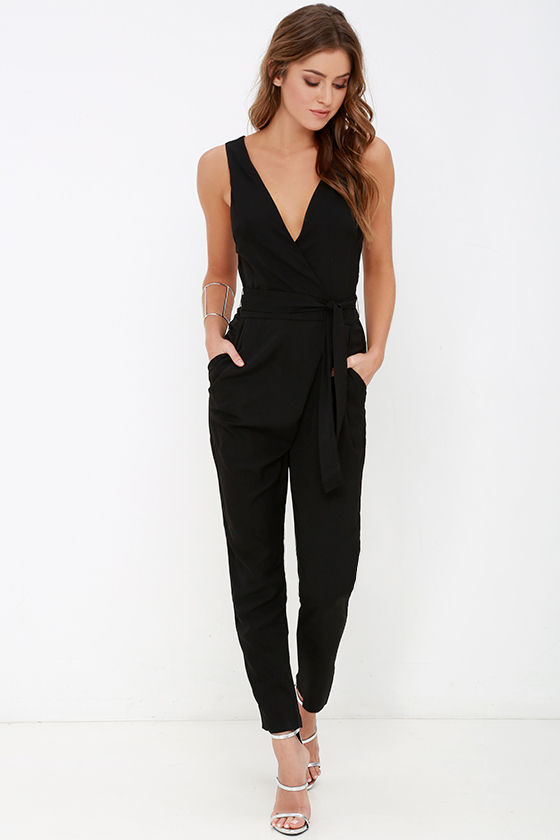 black jumpsuit   sleeveless jumpsuit   high waisted