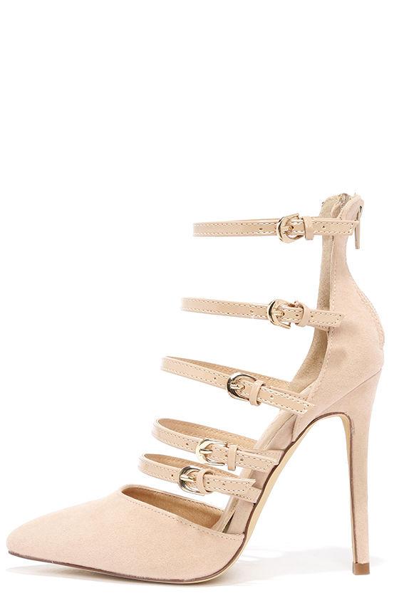 aed5ce7fea93 Sexy Nude Heels - Vegan Suede Heels - Pointed Toe Heels -  34.00