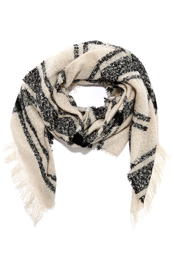 Neighborhood News Black and Beige Plaid Scarf
