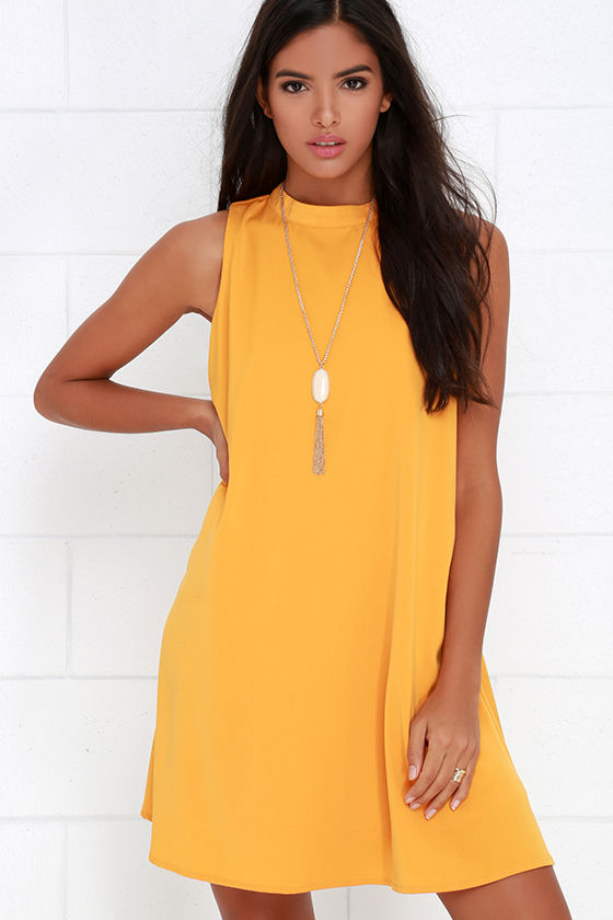 ce8cabee8c673 Chic Mustard Yellow Dress - Swing Dress - Sleeveless Dress -  48.00