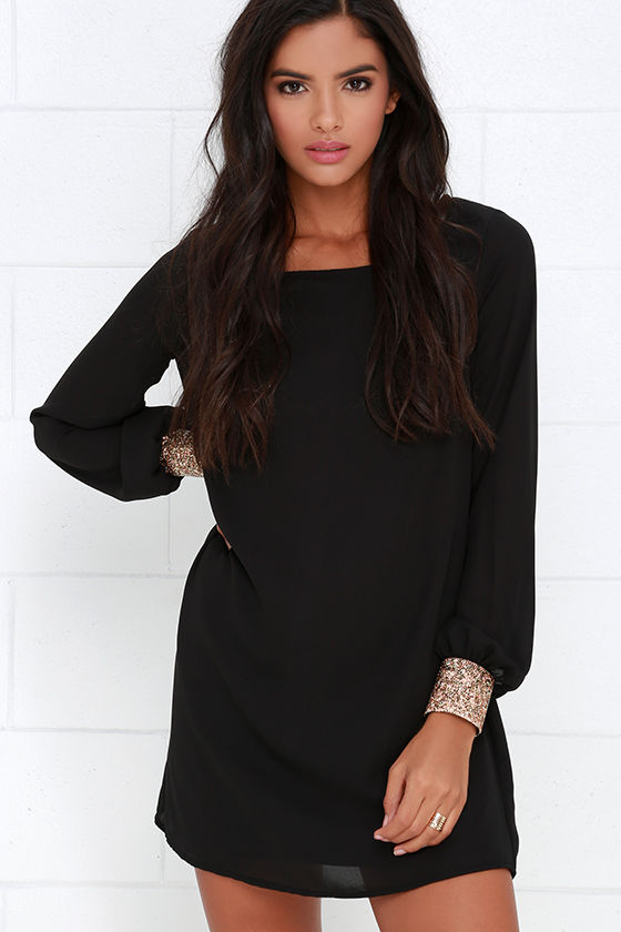 51dcfd03c9f Long Sleeve Dress- Shift Dress - Black Dress -  59.00