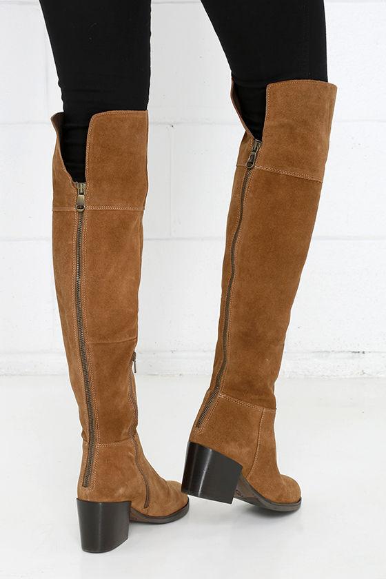 26f6a0dd109 Steve Madden Orabela Chestnut Suede Leather Over the Knee Boots