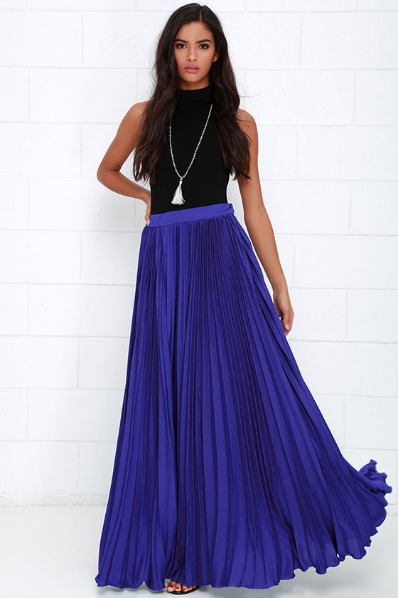 Pretty Royal Blue Skirt - Maxi Skirt - Accordion Pleated Skirt ...