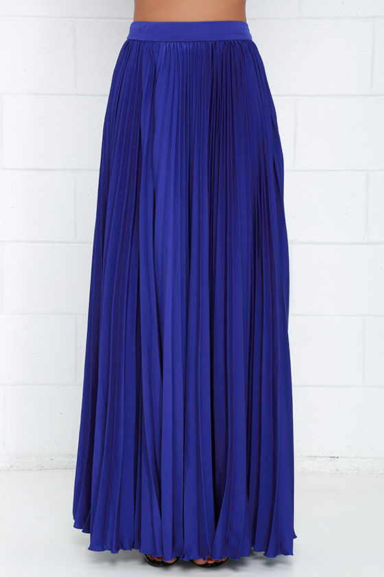 pretty royal blue skirt maxi skirt accordion pleated