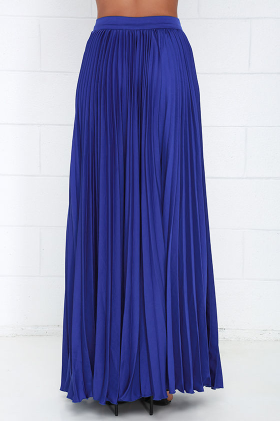 pretty royal blue skirt maxi skirt accordion pleated