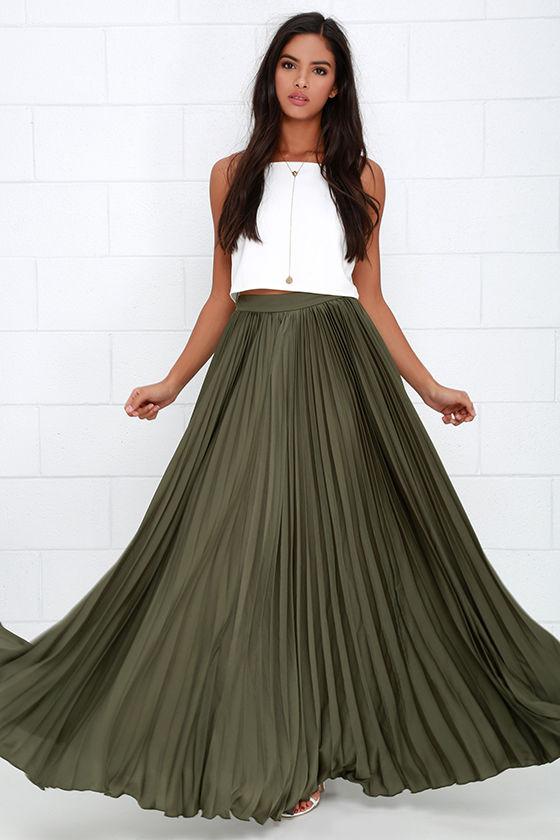 4fce70358a0 Pretty Olive Green Skirt - Maxi Skirt - Accordion Pleated Skirt -  139.00