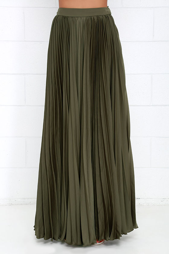 Pretty Olive Green Skirt - Maxi Skirt - Accordion Pleated Skirt ...