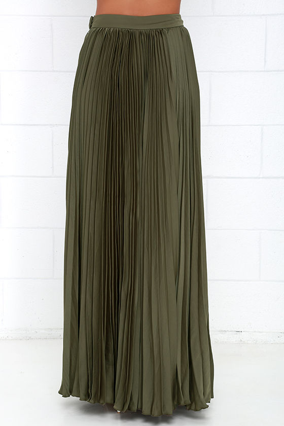 Pretty Olive Green Skirt - Maxi Skirt - Accordion Pleated Skirt ...