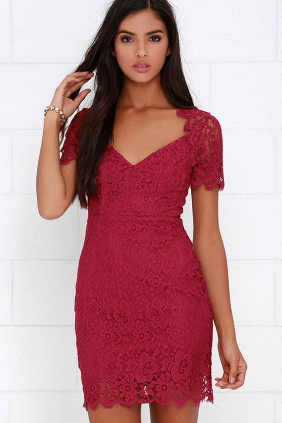 Berry Red Dress - Lace Dress - Short Sleeve Dress - $56.00