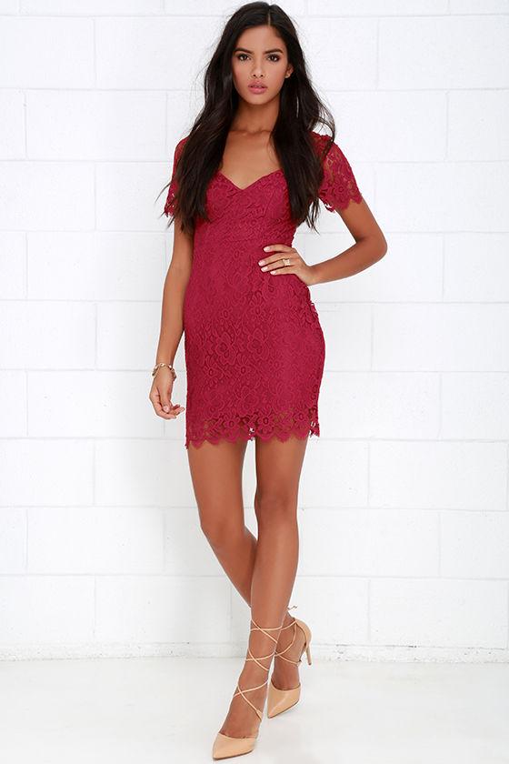 e2c19b8b2d5 Berry Red Dress - Lace Dress - Short Sleeve Dress -  56.00