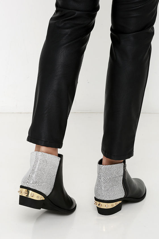 5fe08161cb722c Cute Black and White Boots - Leather Ankle Boots - Ankle Booties ...