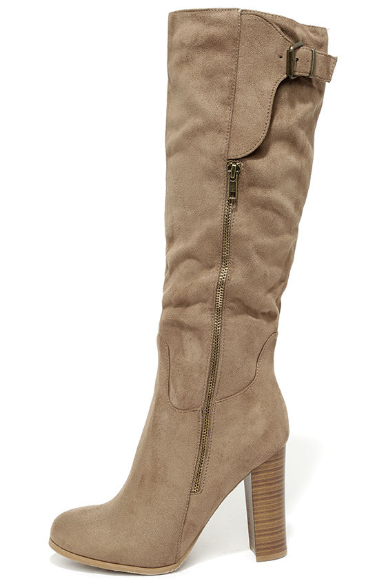 Cute Taupe Boots - Vegan Suede Boots - Knee High Boots - $39.00