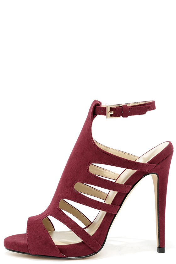 b216c61fa8a5 Cute Wine Red Heels - Suede Heels - Caged Heels -  48.00