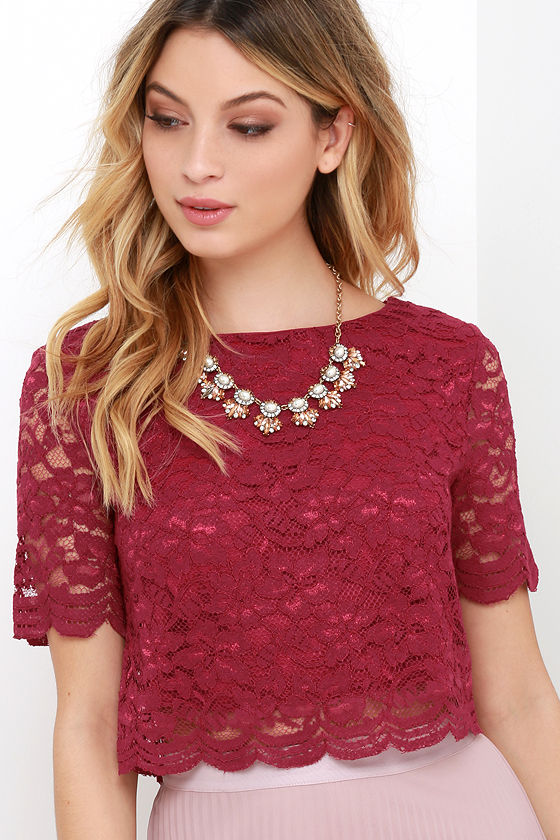 67ba2c8c27 Lace Top - Short Sleeve Top - Crop Top - Wine Red Top -  35.00