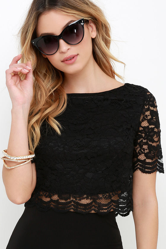 bed5e2c7afc42b Lace Top - Short Sleeve Top - Crop Top - $35.00