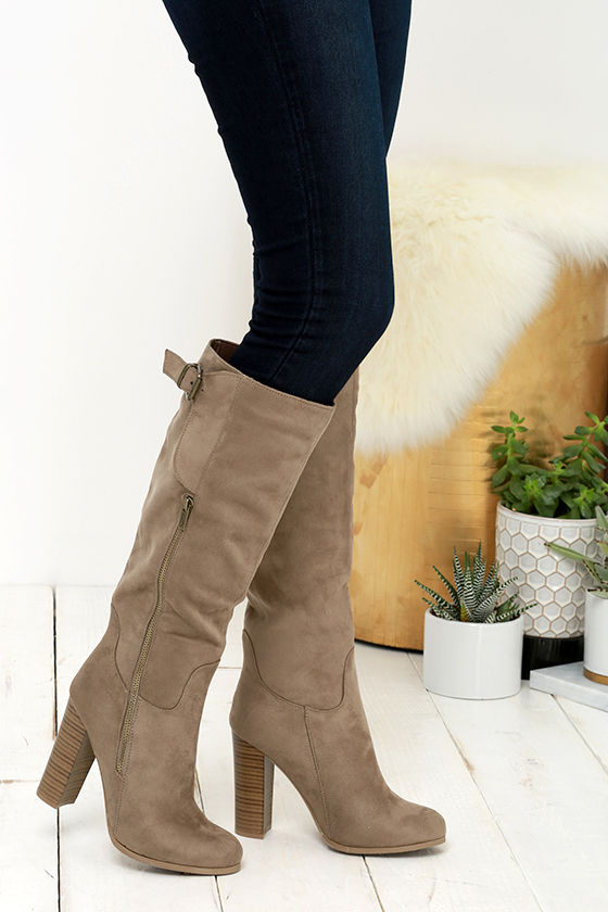 e365ff136 Cute Taupe Boots - Vegan Suede Boots - Knee High Boots - $39.00