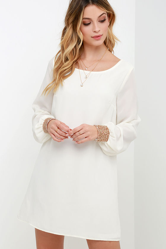 Long Sleeve Dress- Shift Dress - Ivory Dress - White Dress - $59.00