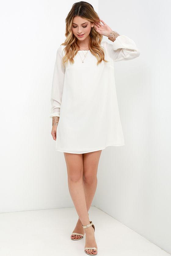 a4a92ae743d7 Long Sleeve Dress- Shift Dress - Ivory Dress - White Dress -  59.00