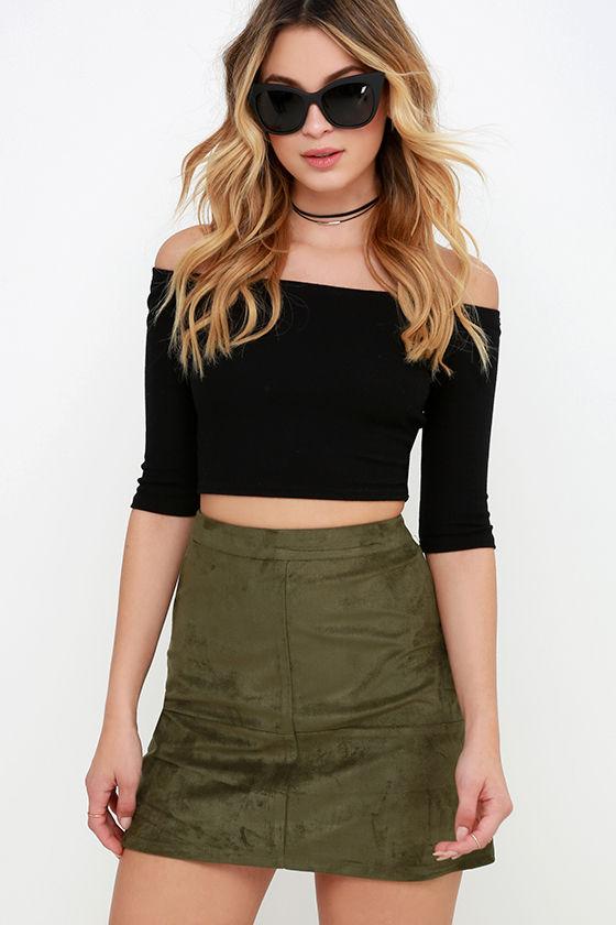 Suede Skirt Olive Green Skirt Mini Skirt High