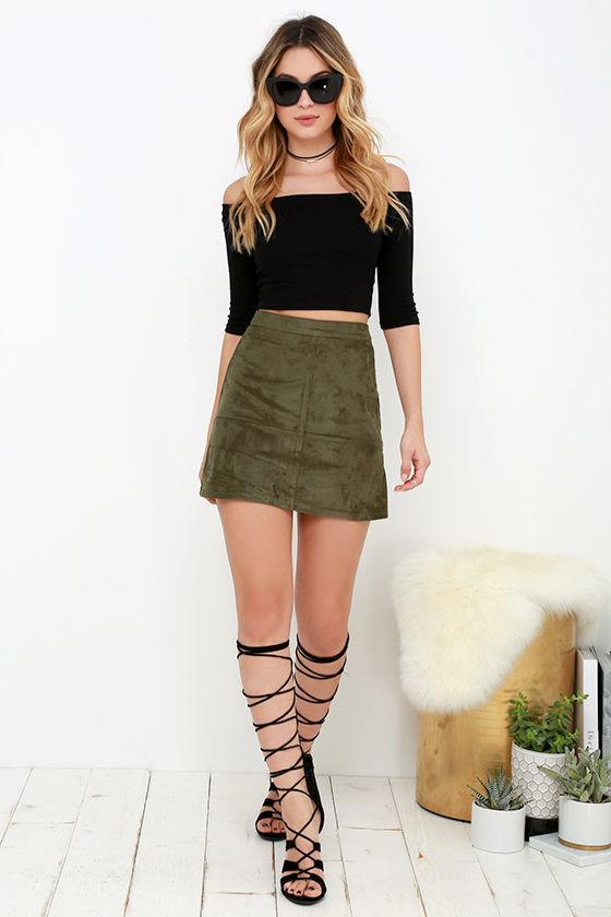 Suede Skirt - Olive Green Skirt - Mini Skirt - High-Waisted Skirt - $38.00
